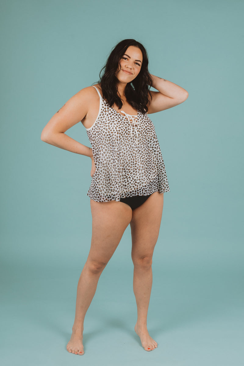 ,SWIM: Femme Bra Mesh Layer Underwire Tankini Top in Leopard, studio shoot; front view