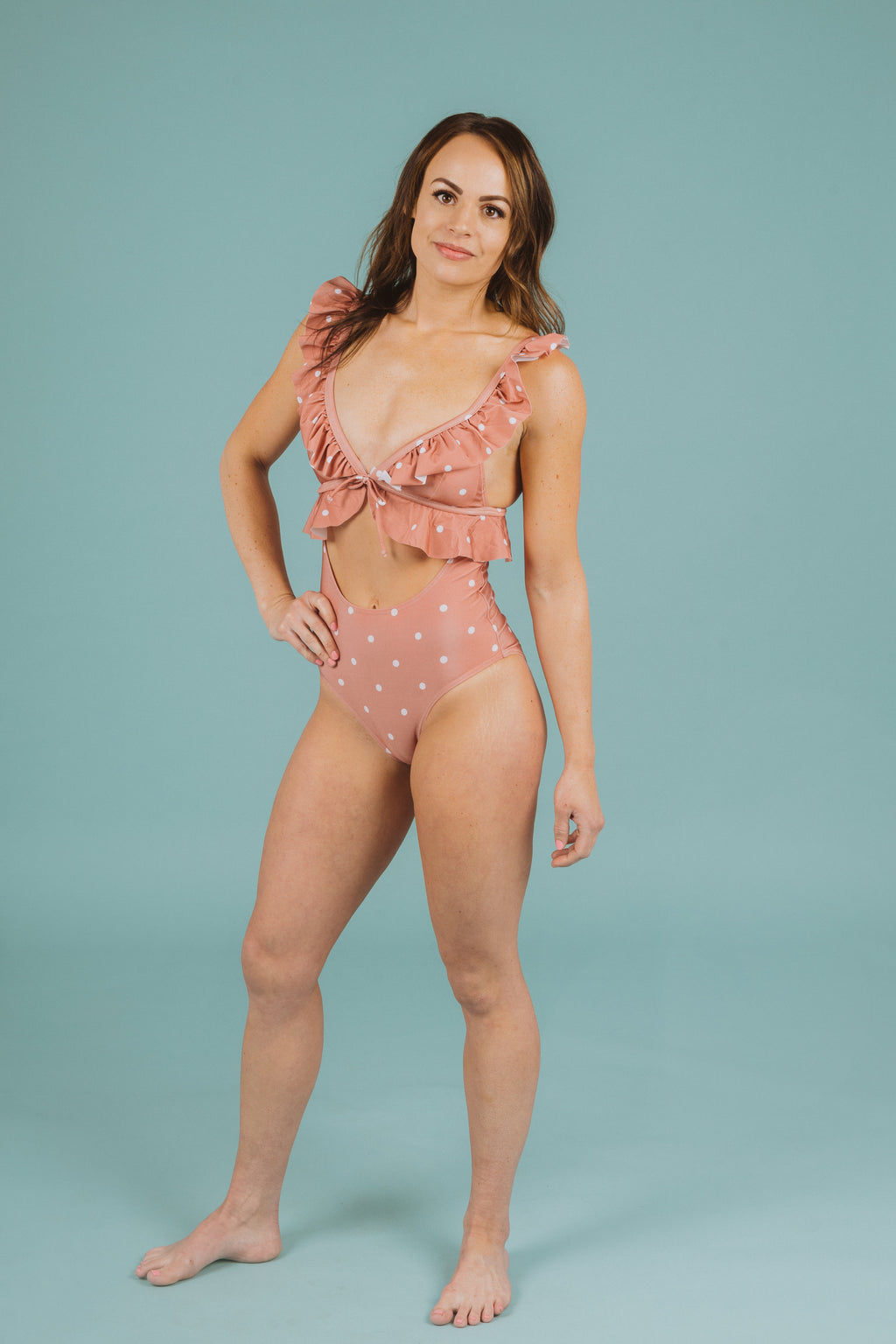 ,SWIM: Ruffle Cut Out One-Piece in Rose Dot, studio shoot; front view