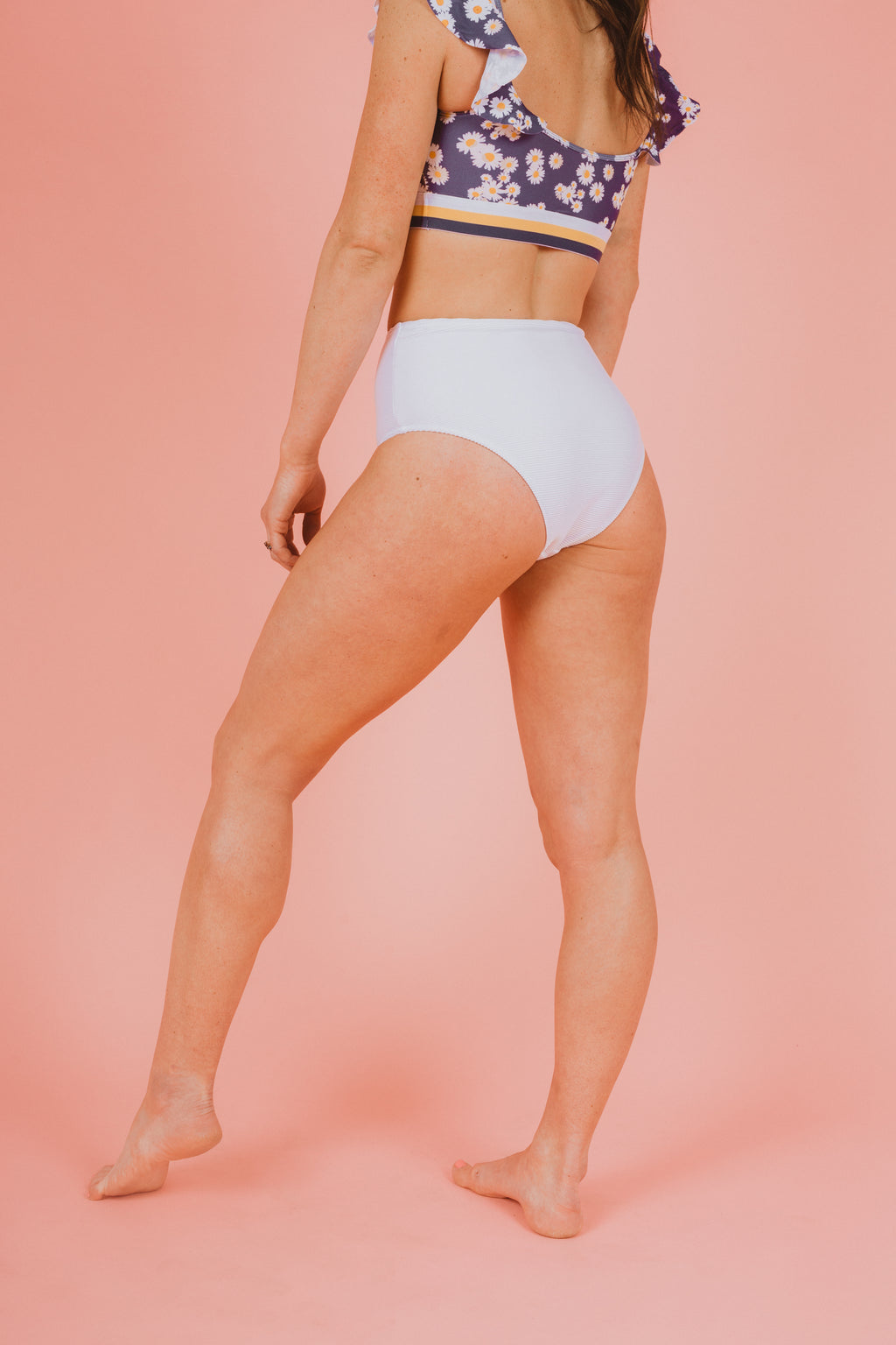 SWIM: Ribbed Mid-Rise Bikini Bottom in White, studio shoot; back view