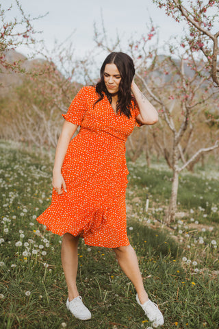 The Ingrid Ruffle Dress in Tangerine