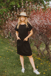 Piper & Scoot: The Casa Cinch Casual Dress in Black (SHIPS IN 1-2 WEEKS)