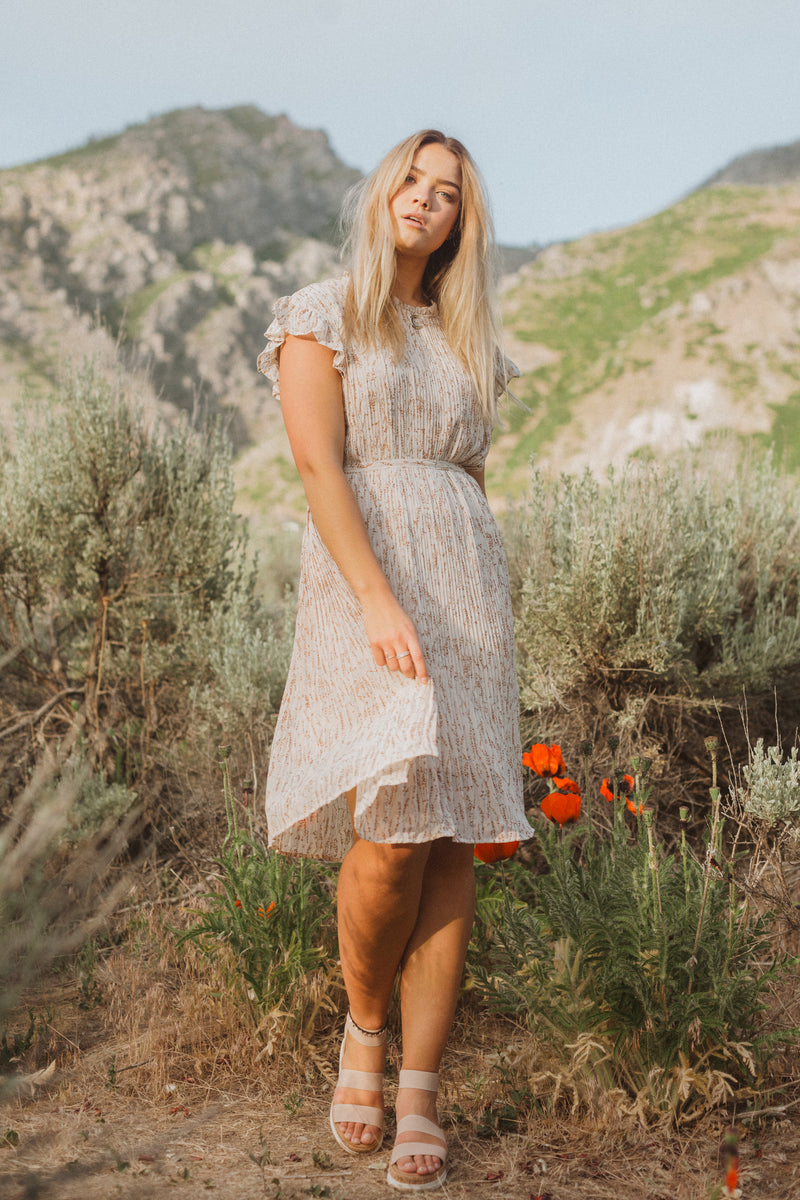 The Harvey Floral Pleated Dress in Taupe, lifestyle shoot; front view