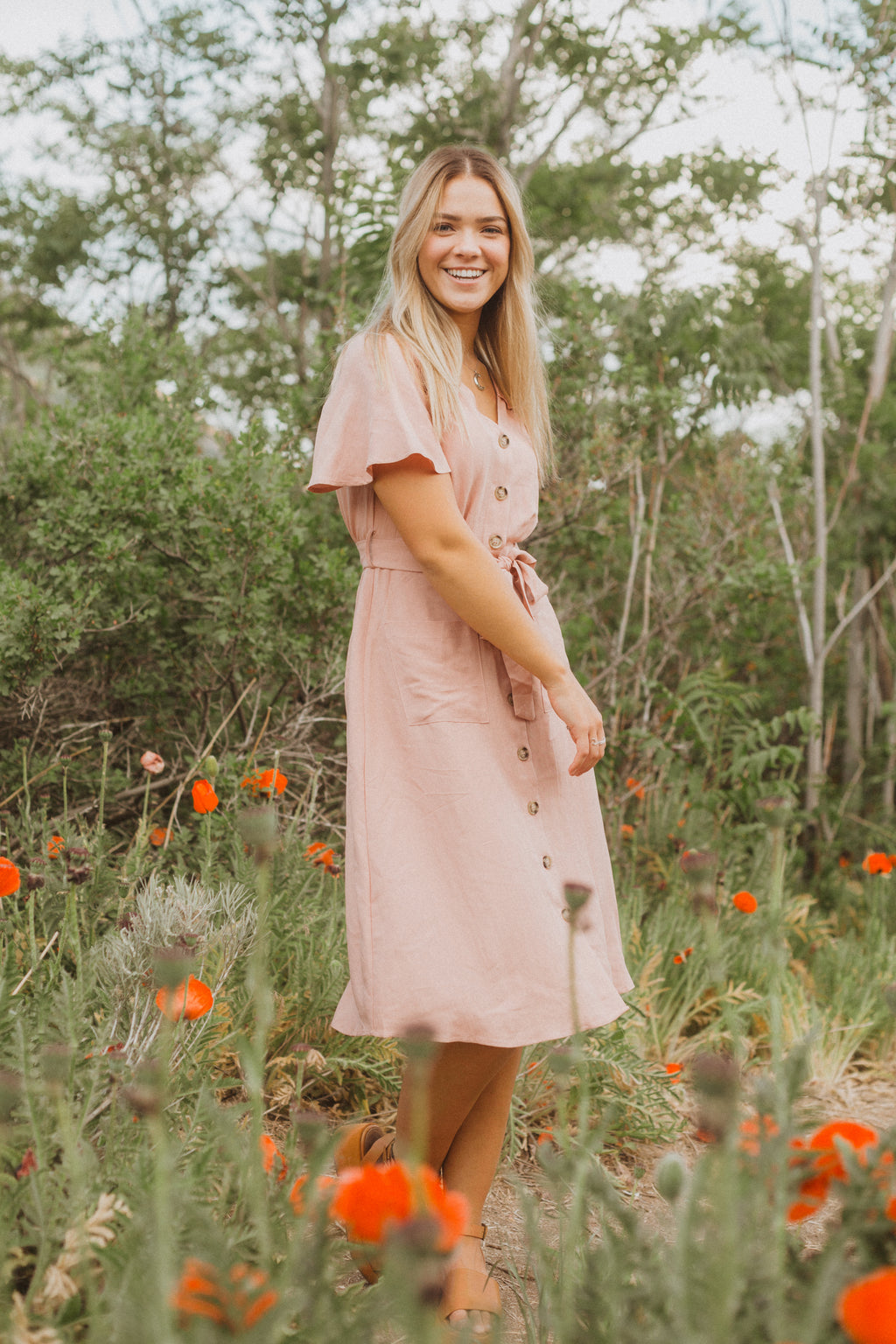 ,The Westin Lace Button Dress in Dusty Rose, lifestyle shoot; front view