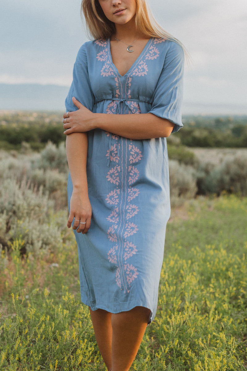 The Vallarta Embroidered Midi Dress in Dusty Blue