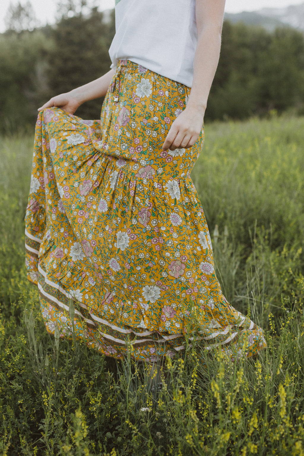 The Quincey Floral Maxi Skirt in Yellow