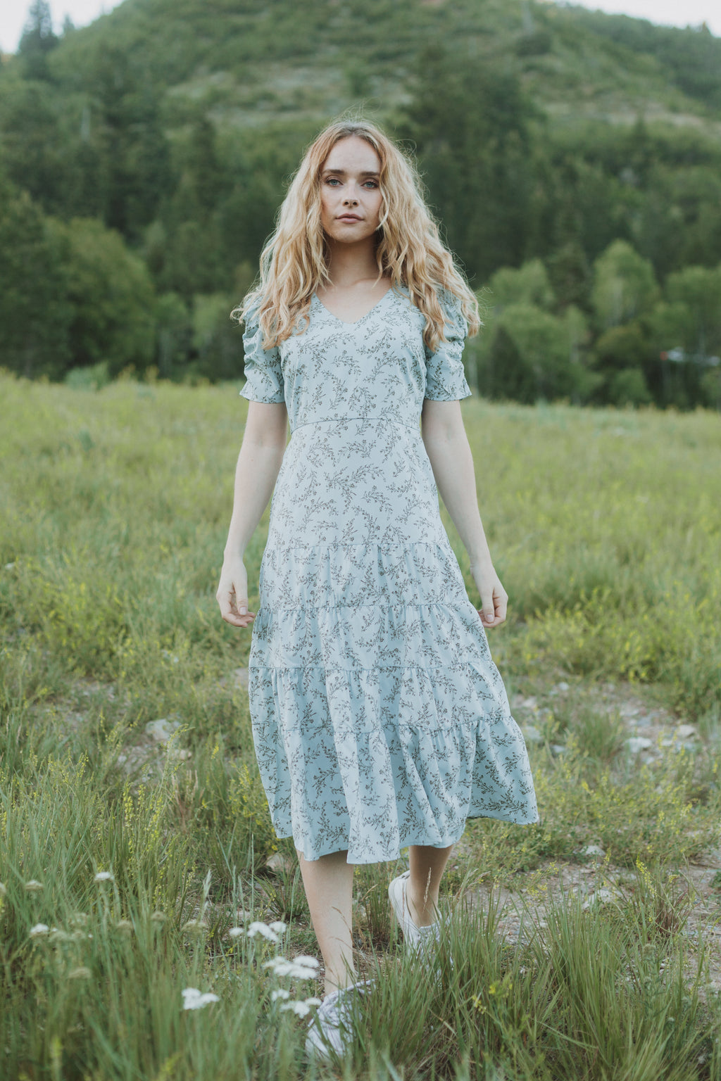 The Arian Floral Tiered Dress in Sky