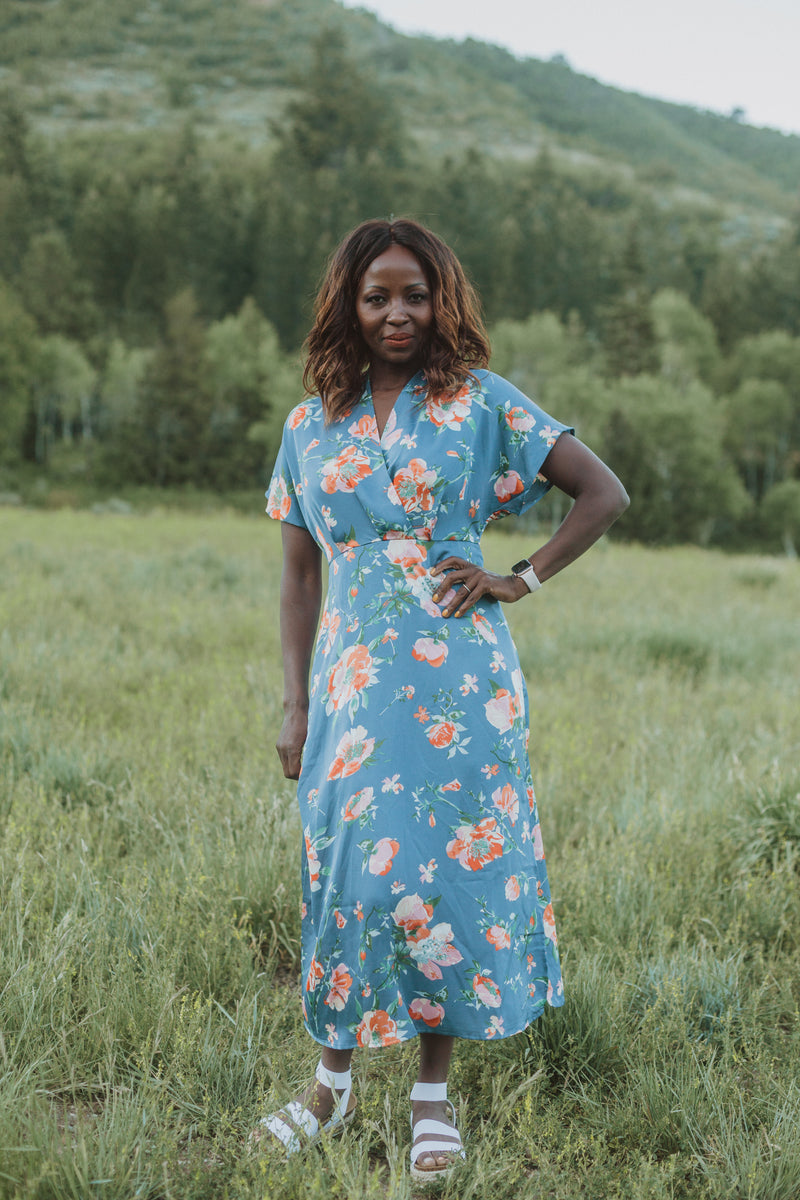 , The Jonah Silk Floral Dress in Blue, lifestyle shoot; front view