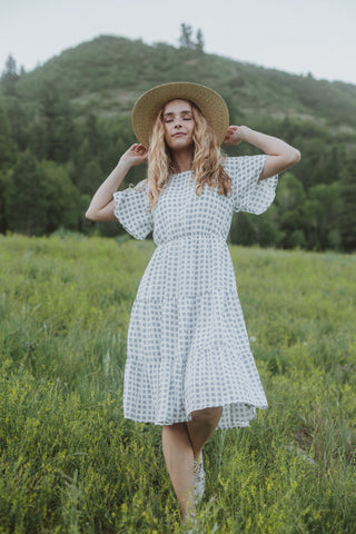 The Crosby Gingham Midi Dress in Navy