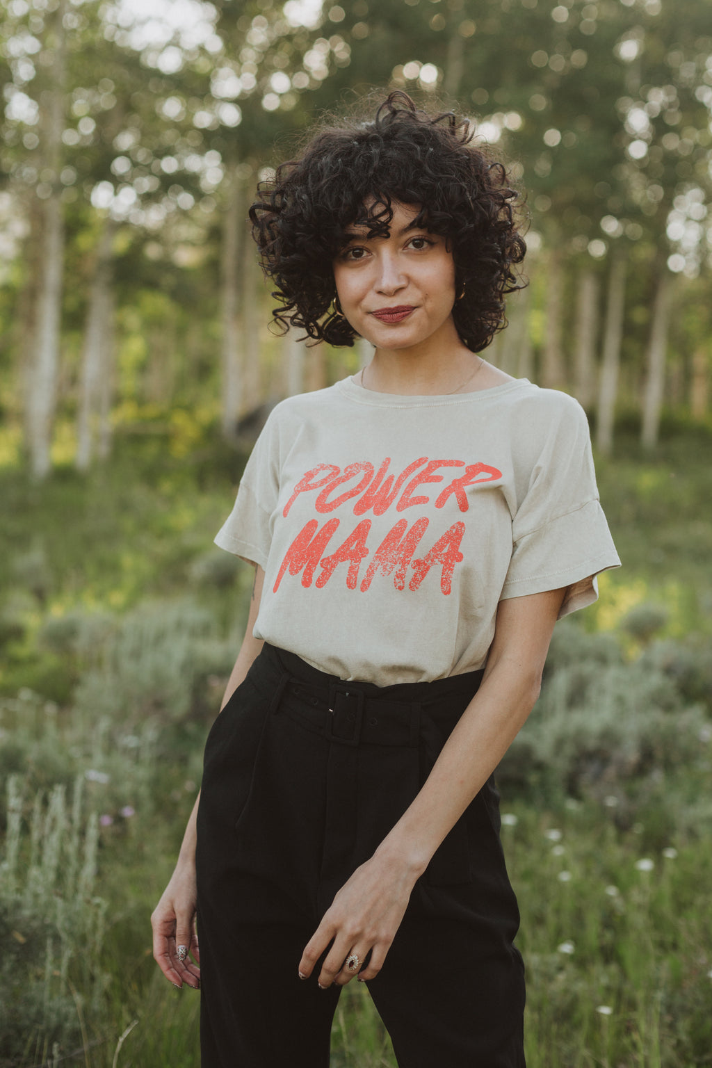 The Power Mama Tee in Taupe