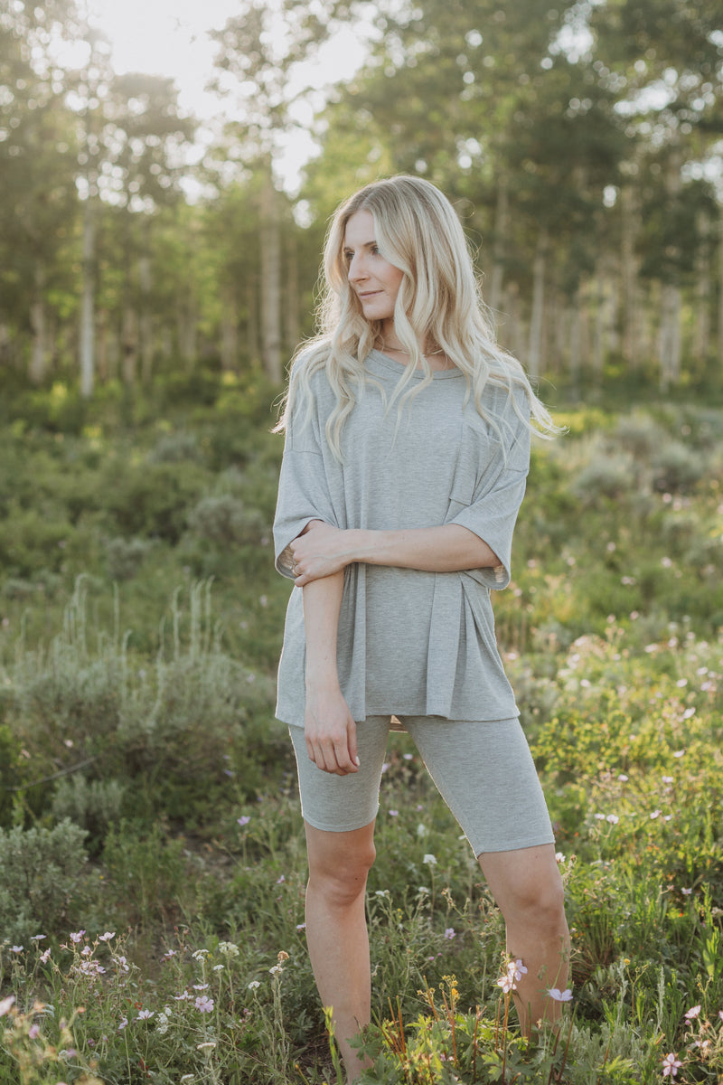 The Ashlee Boyfriend Casual Set in Heather Grey, lifestyle shoot; front view