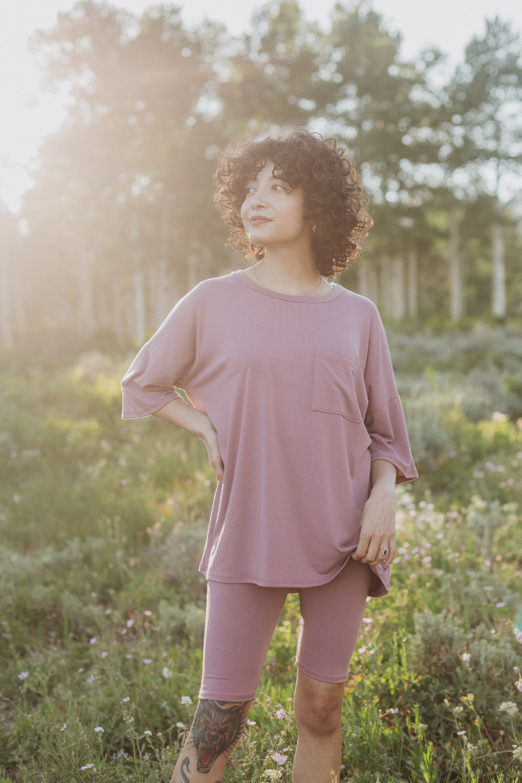 The Ashlee Boyfriend Casual Set in Mauve, lifestyle shoot; front view