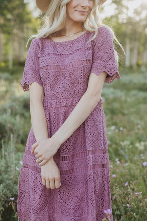 The Chenoa Lace Detail Dress in Plum, lifestyle shoot; front view