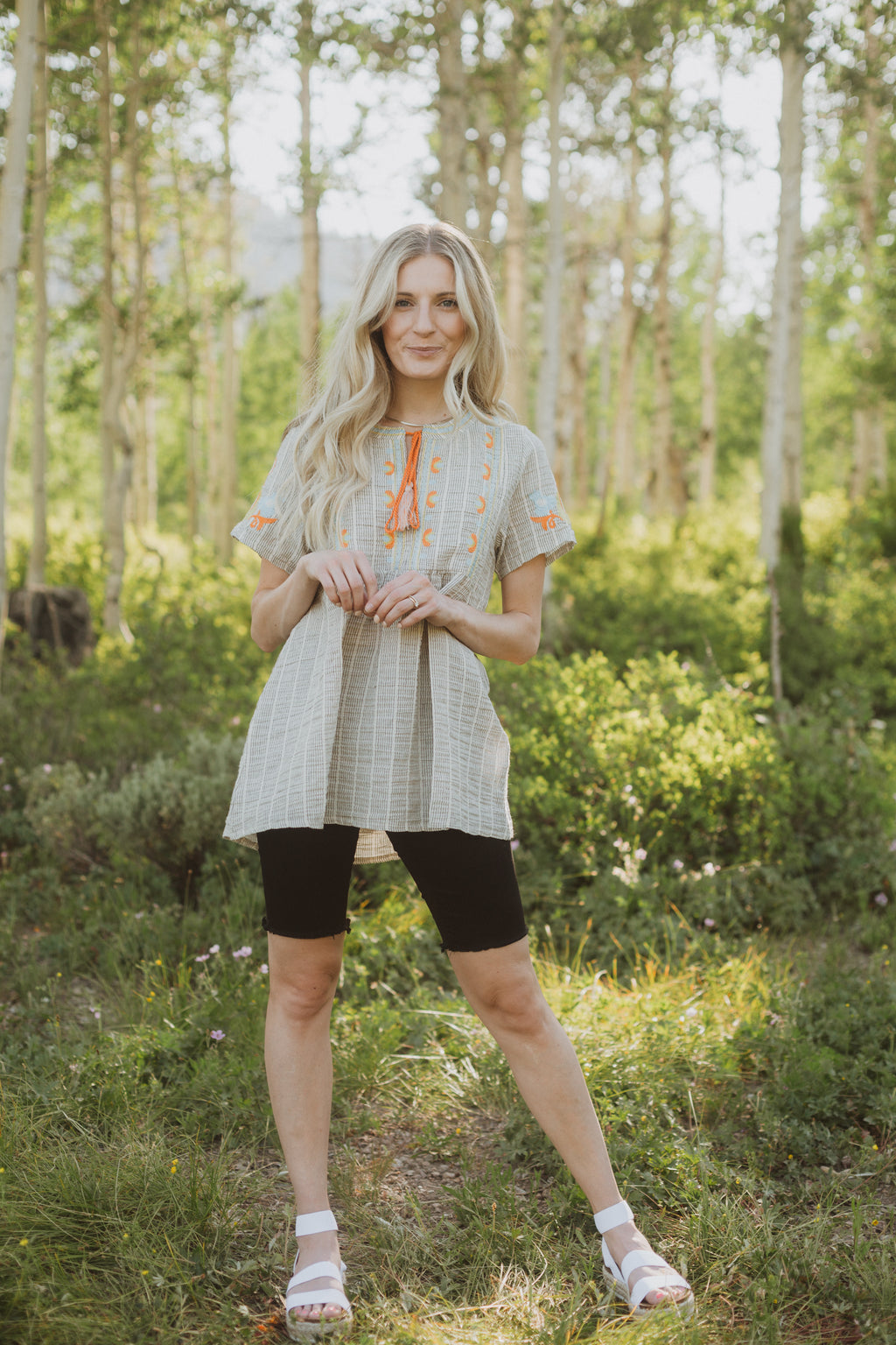 The Jaden Embroidered Striped Blouse in Taupe