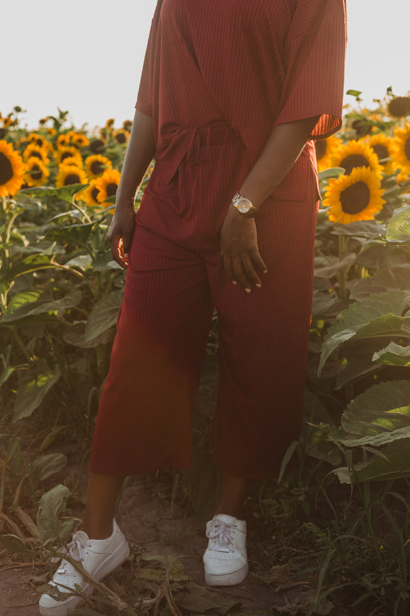 The Hanna Ribbed Casual Set in Burgundy, lifestyle shoot; front view