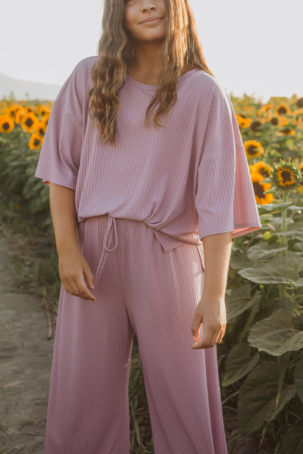 The Hanna Ribbed Casual Set in Violet, lifestyle shoot; front view