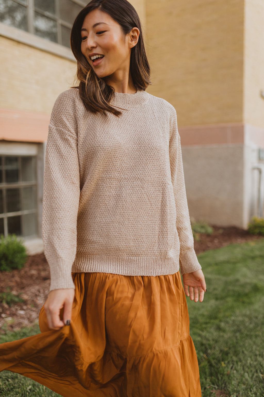 , The Kennish Textured Knit in Beige, lifestyle shoot; front view