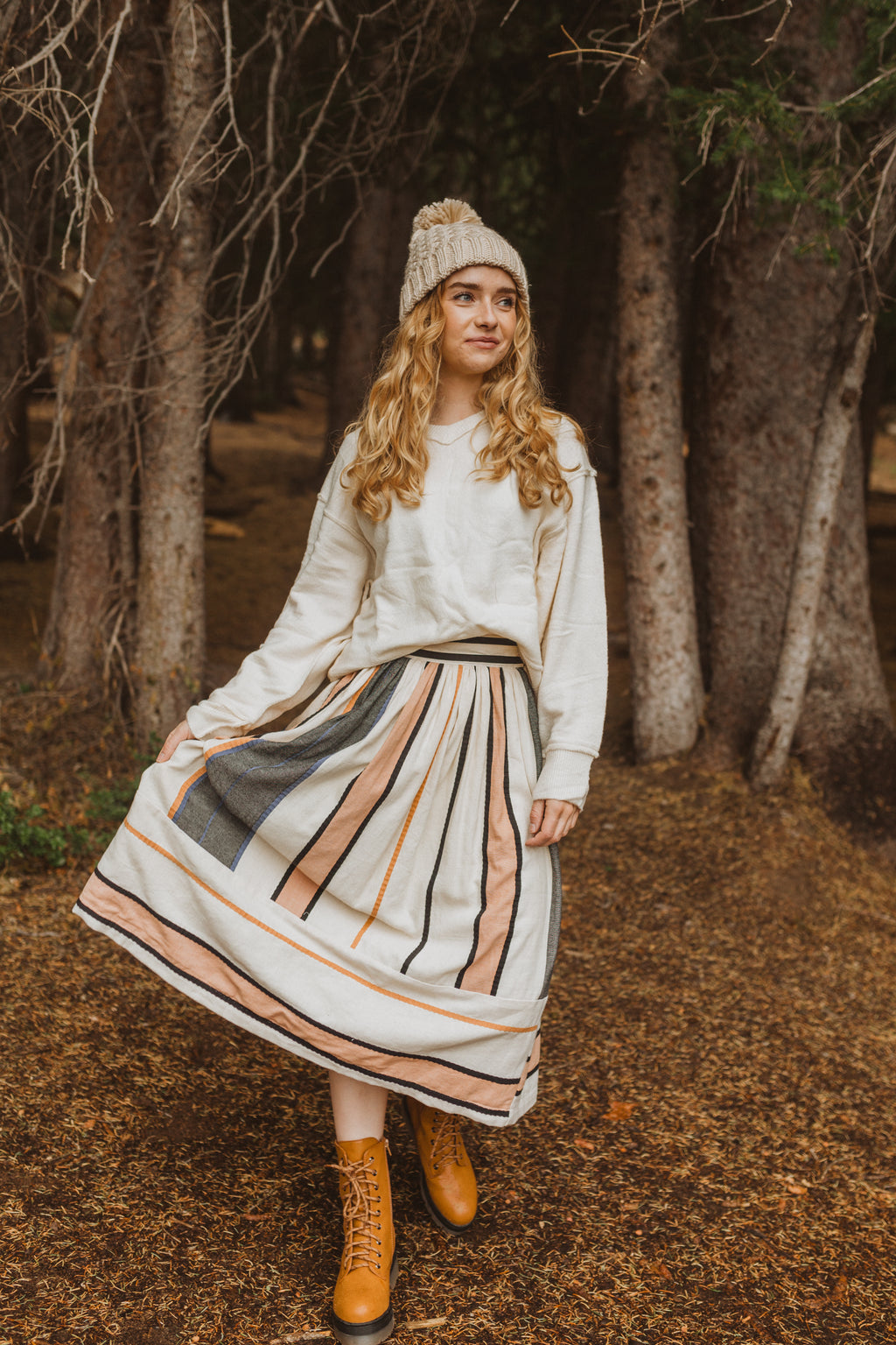 Piper & Scoot: The Eloise Skirt, lifestyle shoot; front view