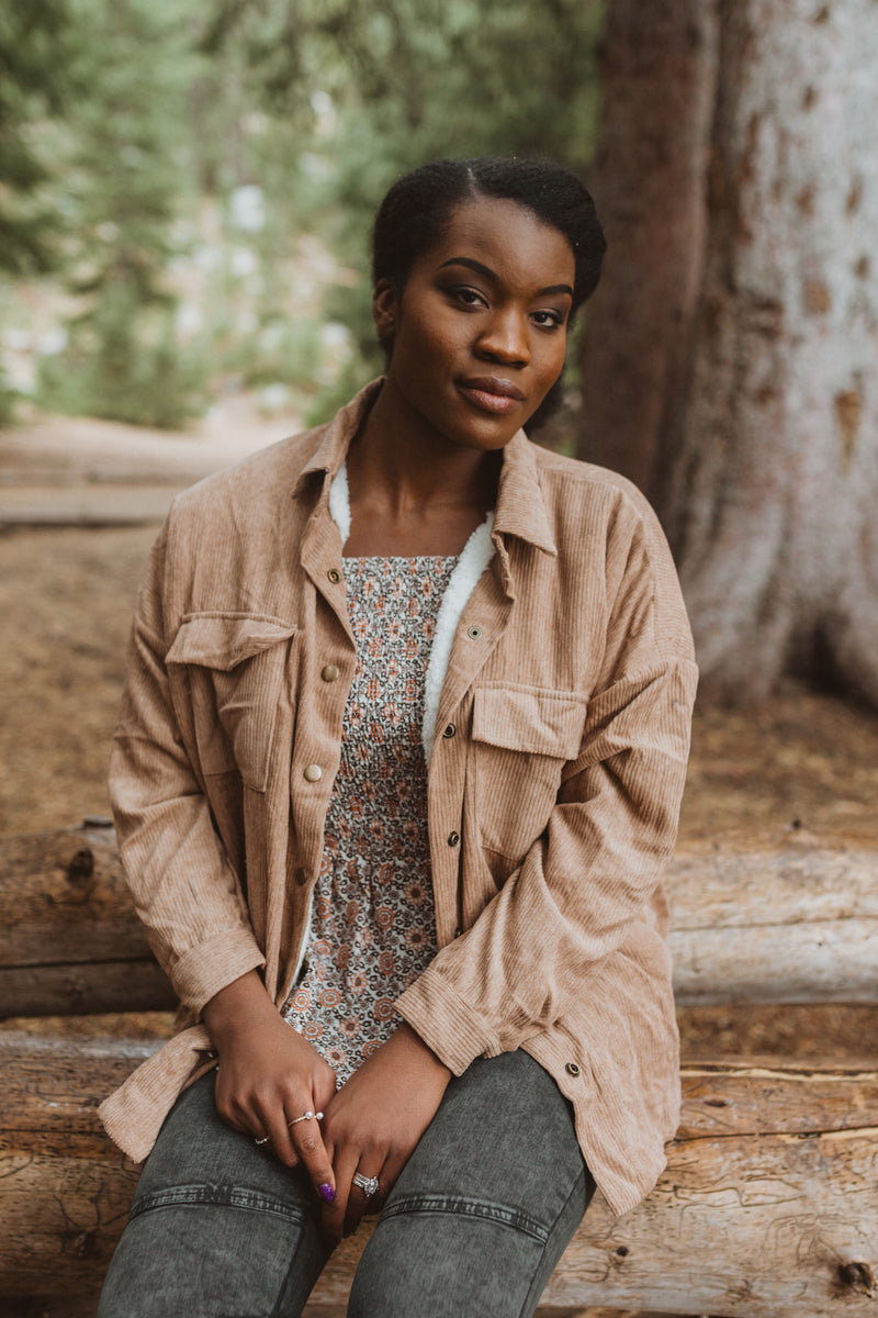 The Arlene Sherpa Corduroy Shirt Jacket in Camel, lifestyle shoot; front view