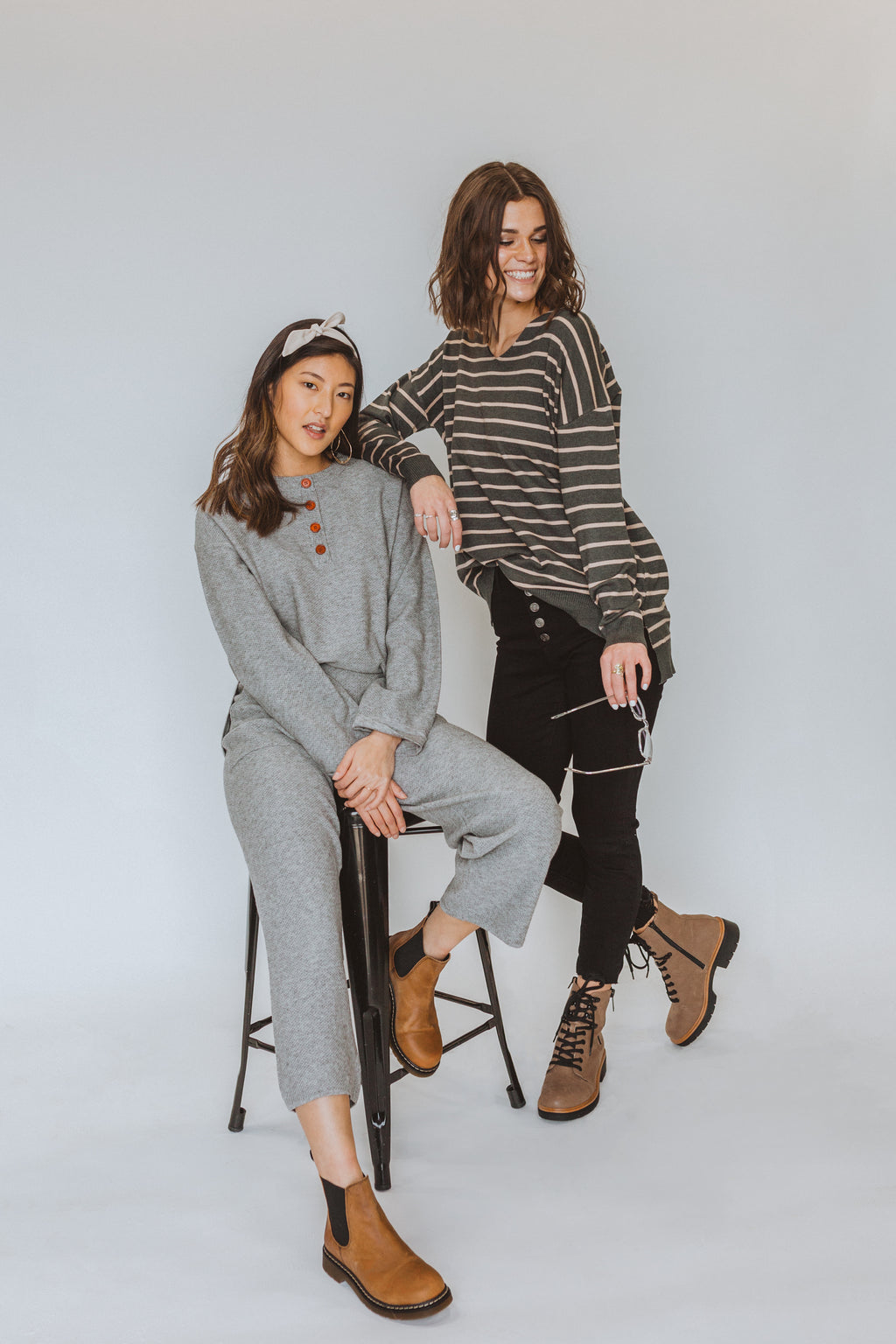 The Ethel Knit Button Set in Heather Grey, studio shoot; front view