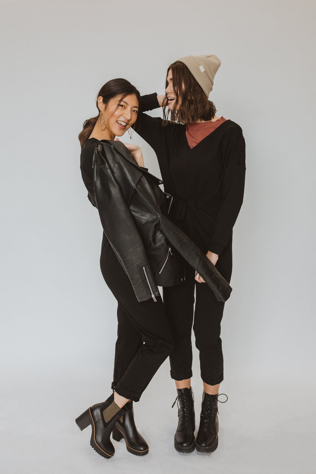 Piper & Scoot: The Bianca Long-Sleeve Cinch Jumpsuit in Black, studio shoot; front view