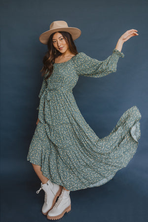 The Alfred Tiered Floral Dress in Jade, studio shoot; front view