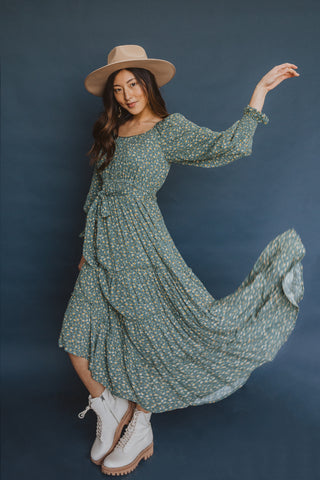 The Mumulo Pattern Smocked Tiered Dress in Blue