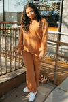, stThe Anderson Waffle Knit Set in Rust, lifestyle shoot; front view