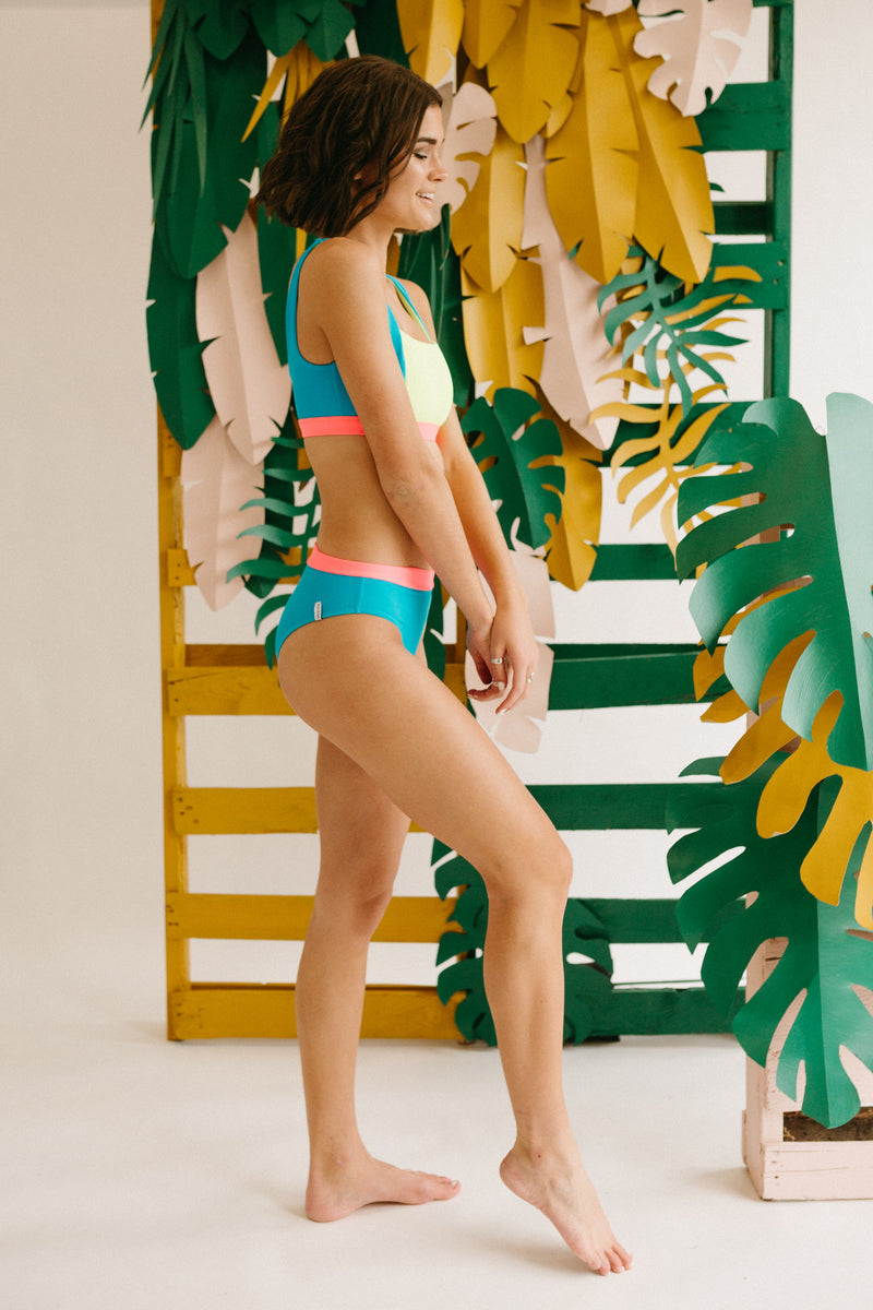 Body Glove: Spectrum Marlee High-Waist Bikini Bottom in Multi, studio shoot; side view