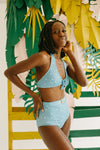 Kingdom & State Cabana Dotted Luxe Belted Bottom in Blue, studio shoot; side view