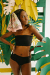 Body Glove: Panther Coco High-Waist Bikini Bottom in Textured Black, studio shoot; front view