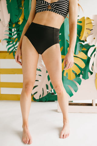 SWIM: Body Glove: Panther Coco High-Waist Bikini Bottom in Textured Black