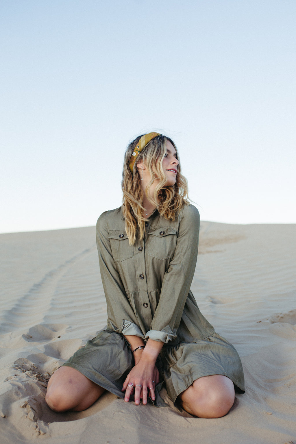 ,The Maddox Button Down Dress in Olive, lifestyle shoot; front view