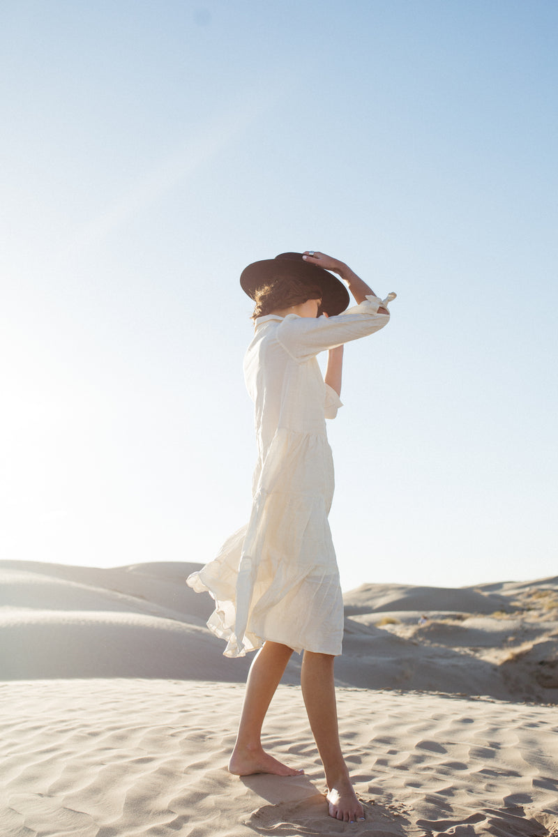 The Joyce Tiered Button Down Dress in Ivory