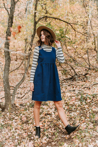 The Baldwin Striped Tie Dress in Blue
