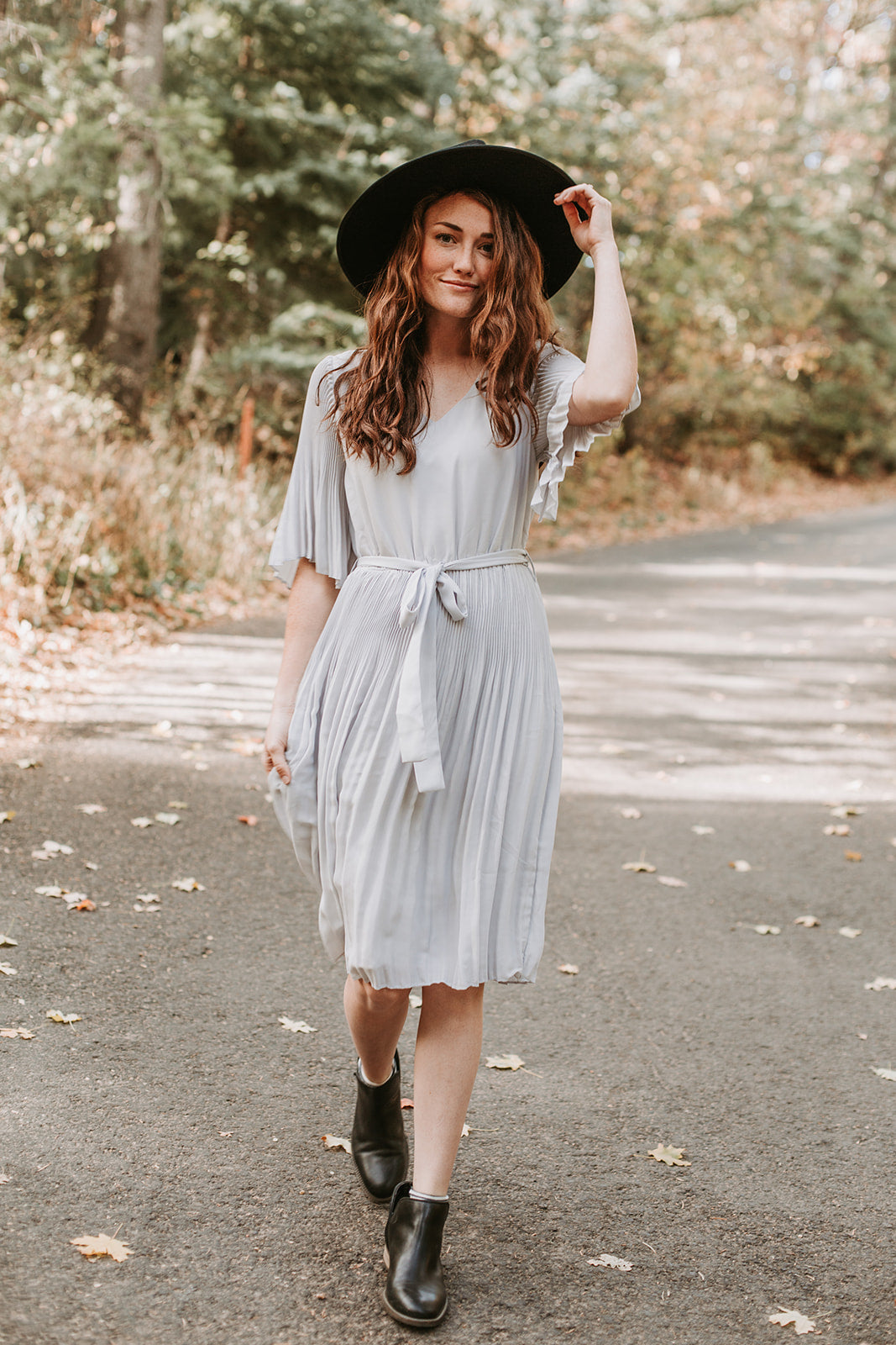 The Palisade Pleated Dress in Light Grey