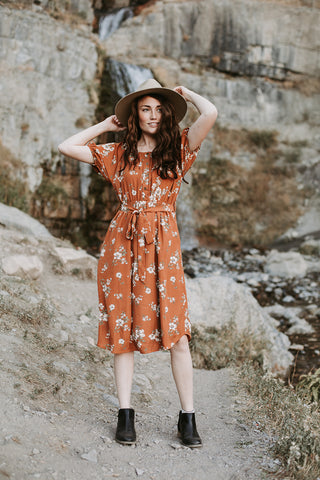 The Warba Swiss Dot Empire Dress in Faded Rust