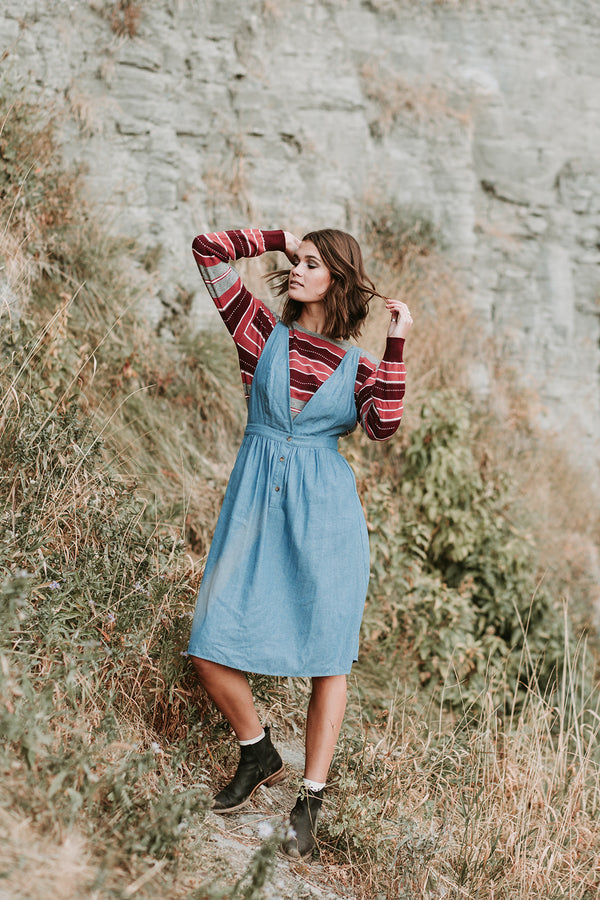 The Aldrich Jumper Dress in Denim