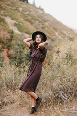 The Dwight Button Collared Dress in Plum
