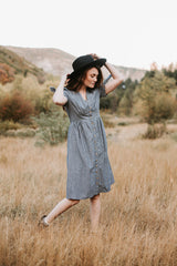 The Lincoln Striped Button Dress in Blue
