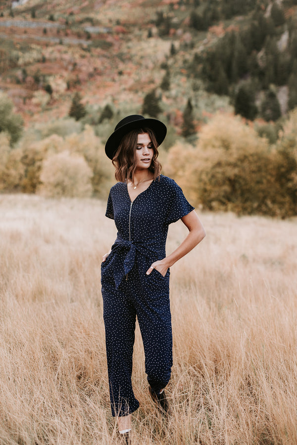 The Star Tie Front Jumpsuit in Navy