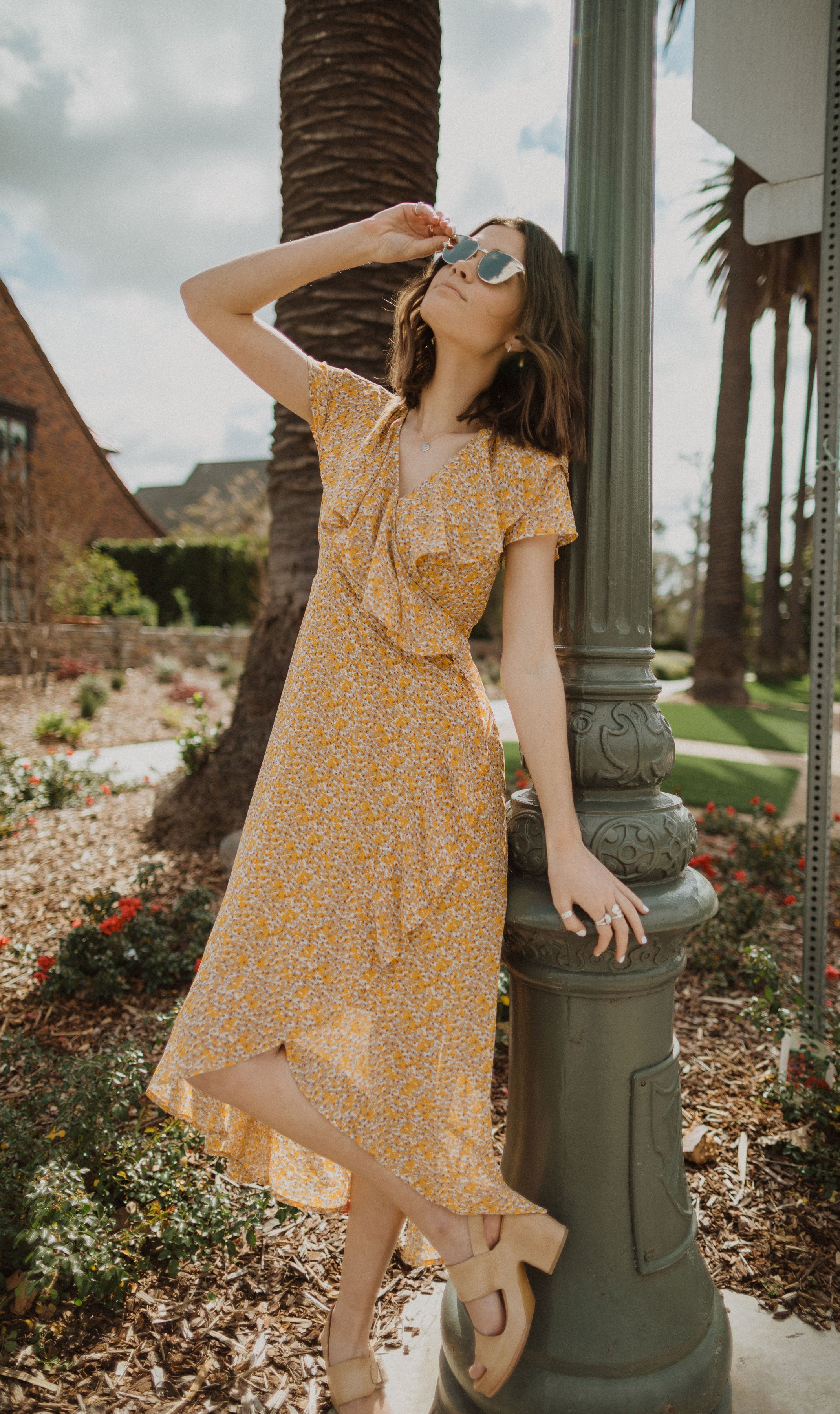 Piper & Scoot: The Alexandra Floral Ruffle Wrap Dress in Mustard