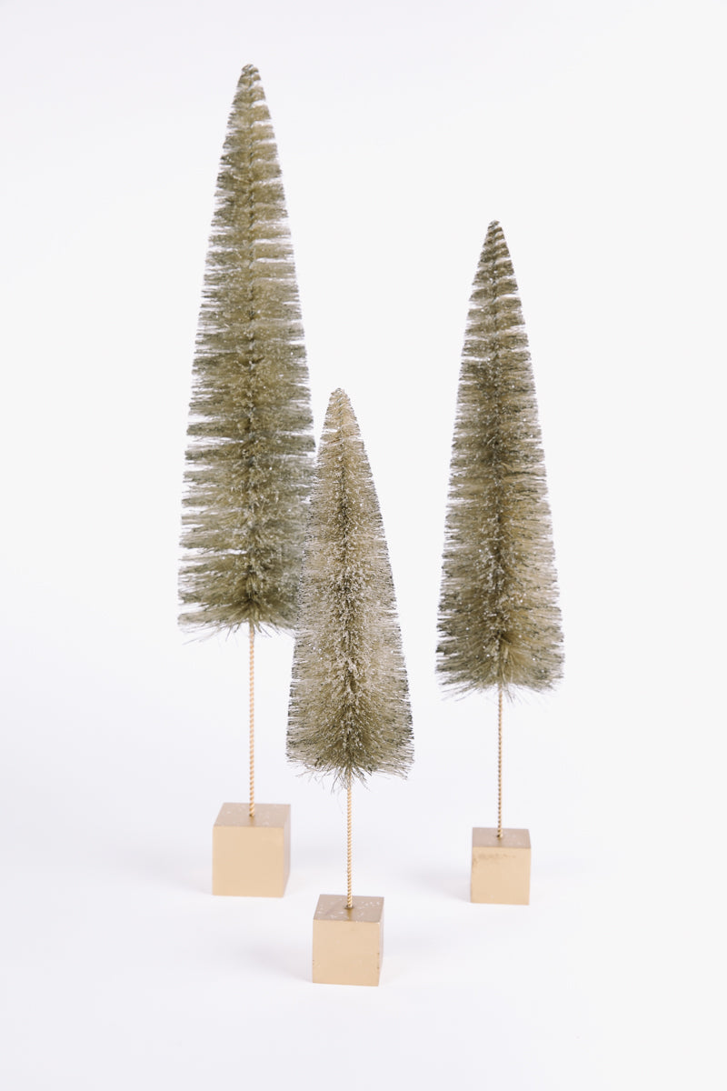 HOLIDAY: Large Bottle Brush Tree in Champagne Gold