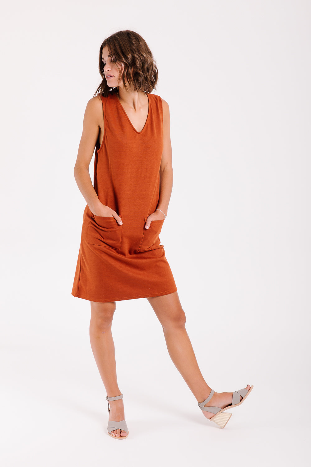The Lawai Tank Pocket Dress in Rust
