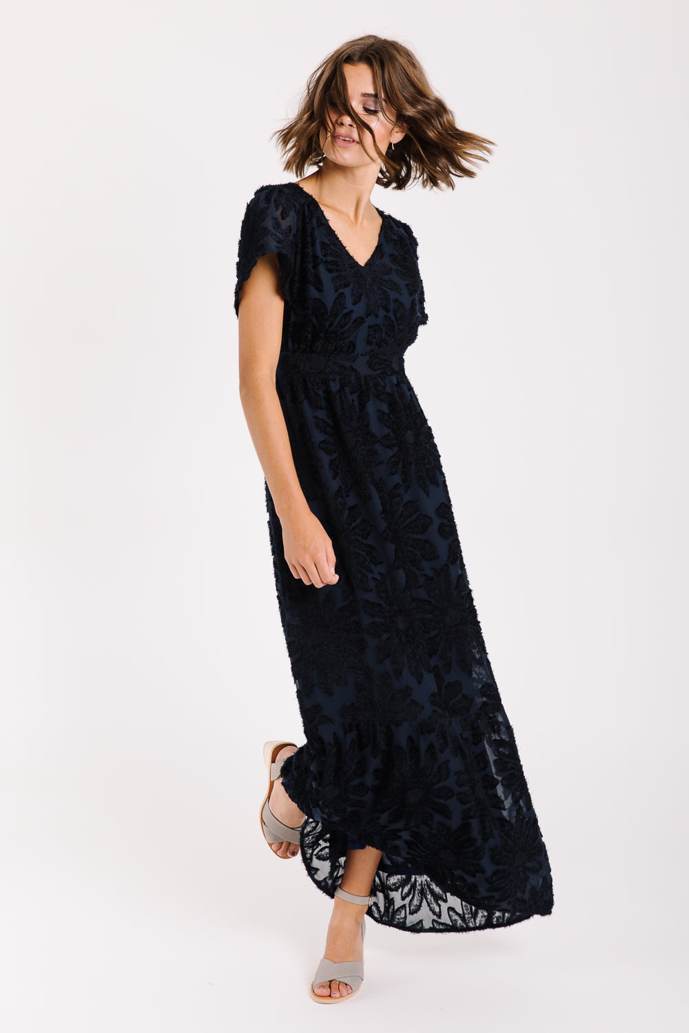 Piper & Scoot: The Theater Detail Maxi Dress in Navy
