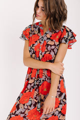 Piper & Scoot: The Midtown Floral Button Dress in Black