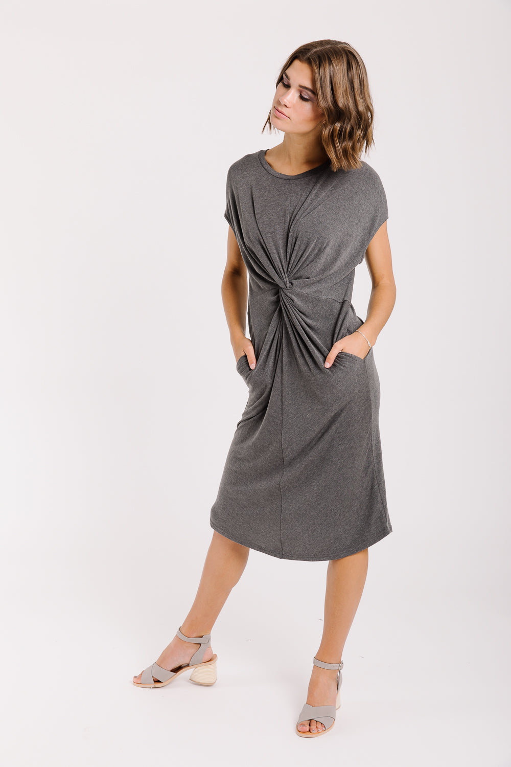 Piper & Scoot: The Park Twisted Knot Dress in Slate