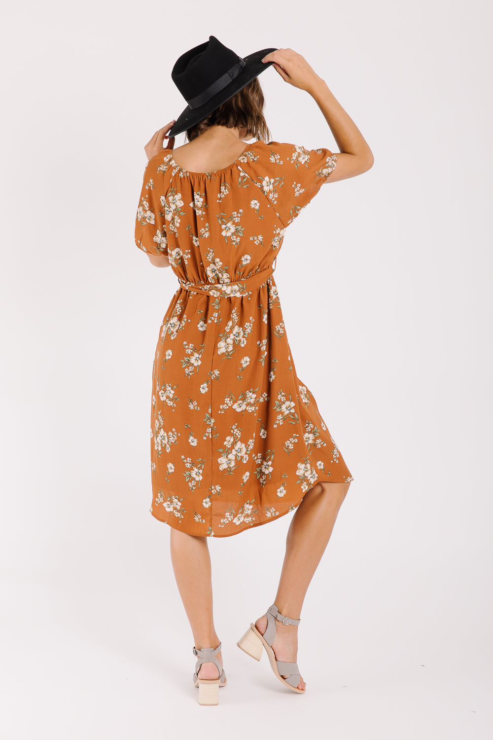 Piper & Scoot: The Bridge Floral Tie Dress in Camel