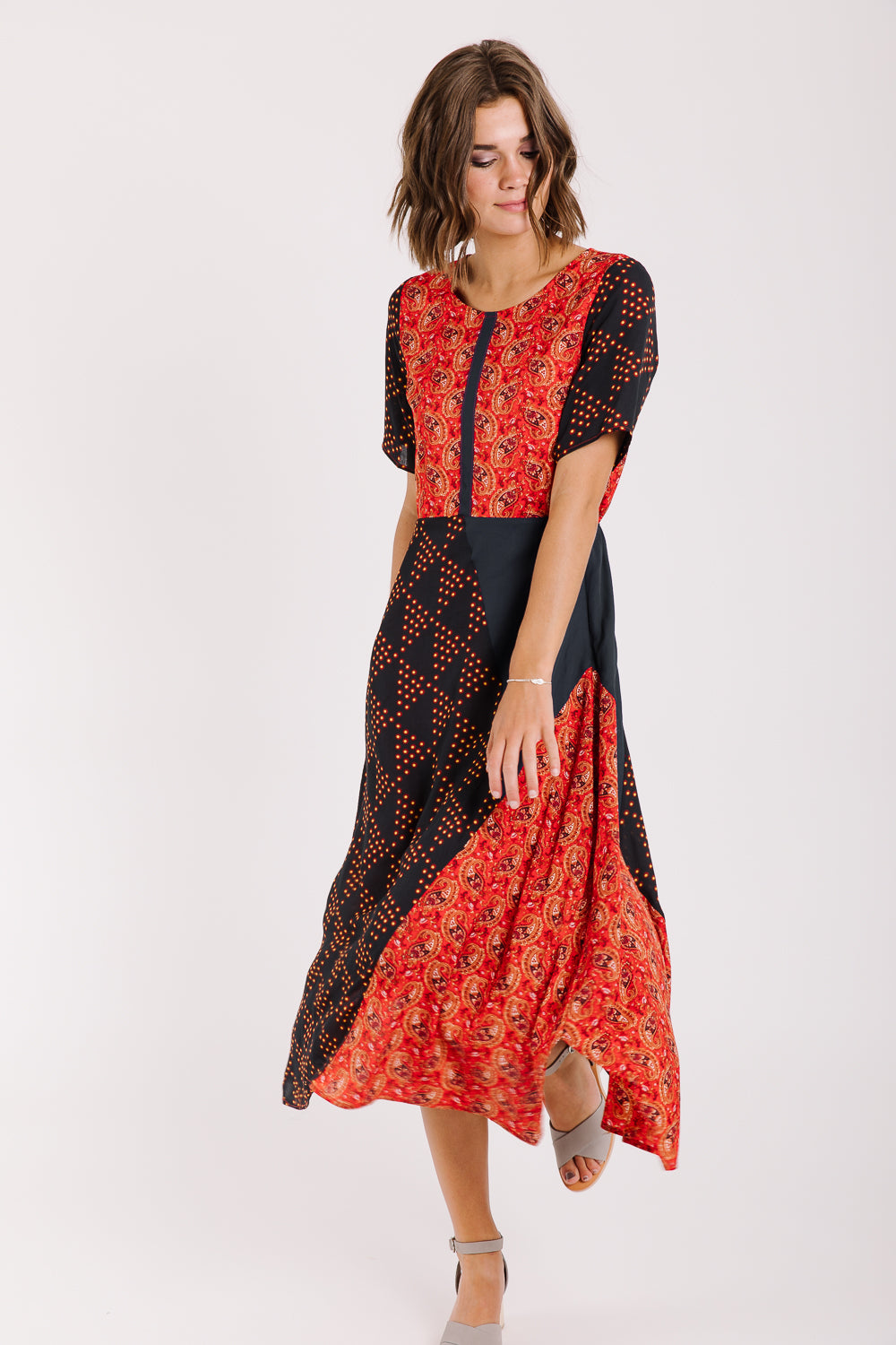 Piper & Scoot: The Staten Paisley Midi Dress in Red