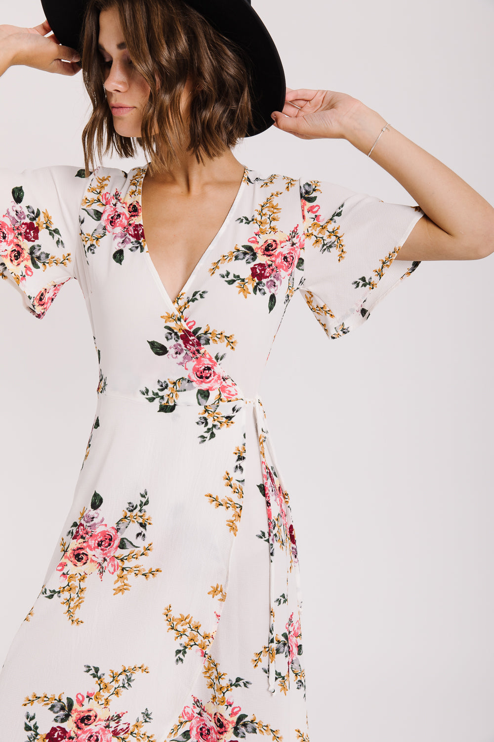 The Kailua Floral Wrap Dress in Ivory