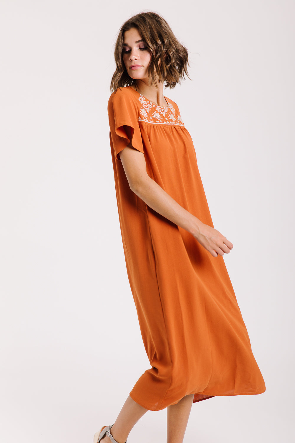 Piper & Scoot: The Hathaway Embroidered Maxi Dress in Rust